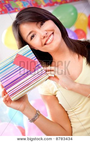 Girl Holding A Present