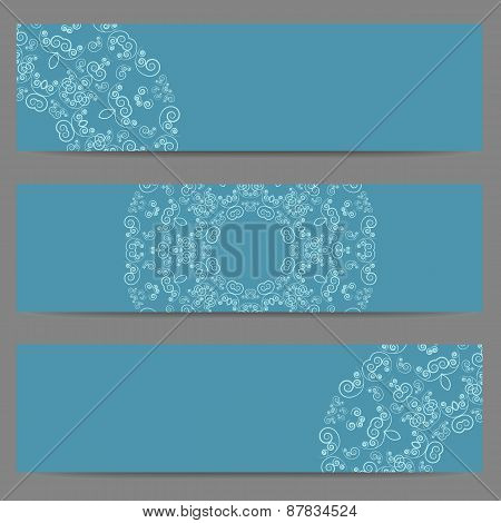 Blue banners with ornate pattern