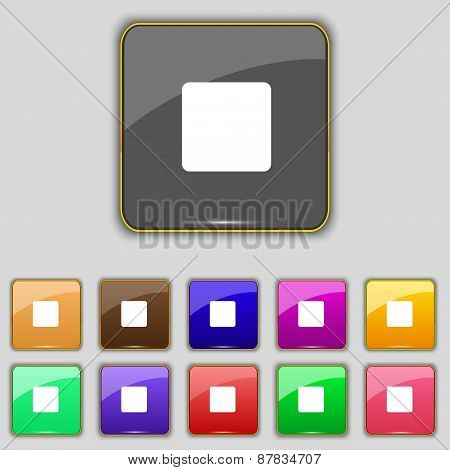 Stop Button Icon Sign. Set With Eleven Colored Buttons For Your Site. Vector