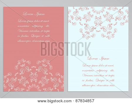 Pink and white flyers with ornate floral pattern