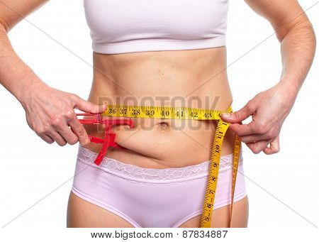 Woman measuring fat belly. Diet and weight loss concept.