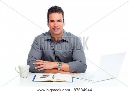 Man working with laptop computer isolated white  background.