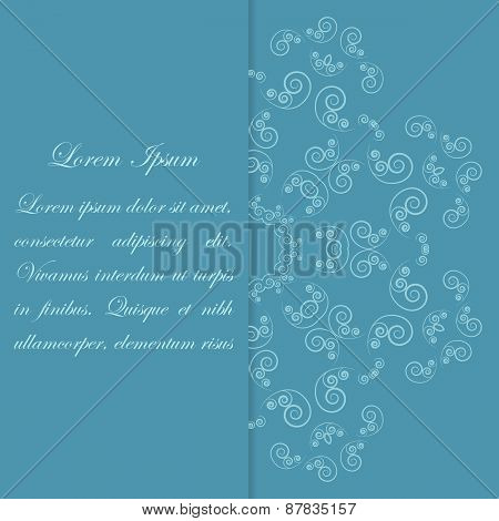 Blue card design with ornate flower pattern