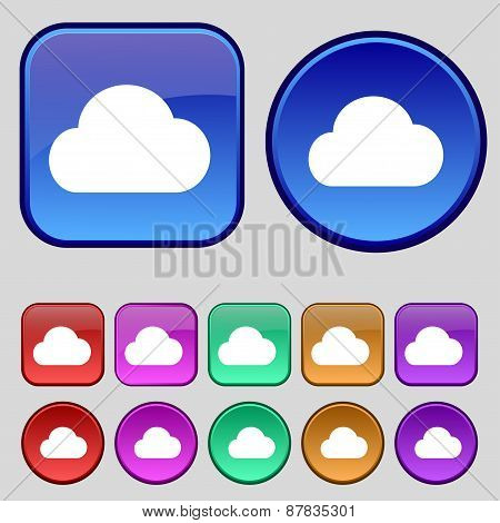 Cloud Icon Sign. A Set Of Twelve Vintage Buttons For Your Design. Vector