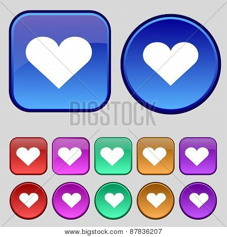 Heart, Love Icon Sign. A Set Of Twelve Vintage Buttons For Your Design. Vector