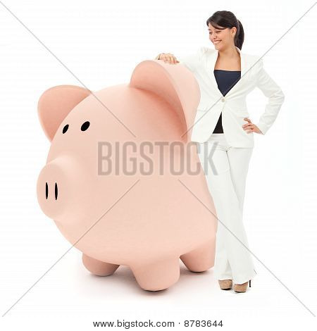 Business Woman With A Piggybank