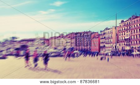 Abstrakt Background. Marseilles, Old Port (vieux-port) With People Walking Along The Promenade.  Rad
