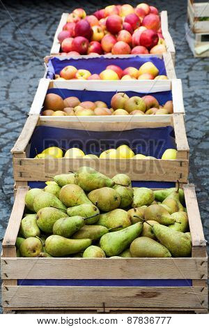 Wooden Crates With Pears And Apples