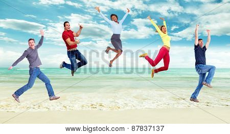 Happy running and jumping people group. Summer vacation.