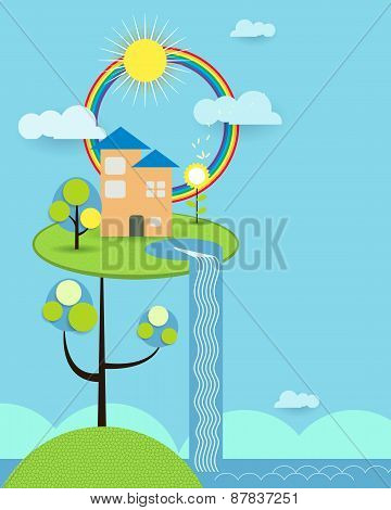 Abstract Paper Cut , Home ,sun,cloud ,sky And Rainbow