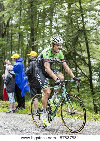 The Cyclist Lars Boom Climbing Col Du Platzerwasel - Tour De France 2014