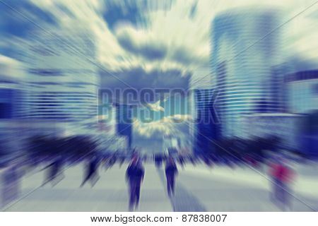Abstrakt Background. Business People In The Street In Paris.  Radial Zoom Blur Effect Defocusing Fil