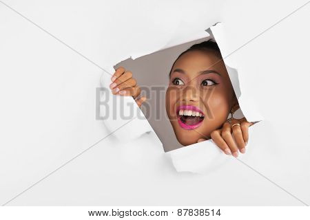 Shocked excited woman