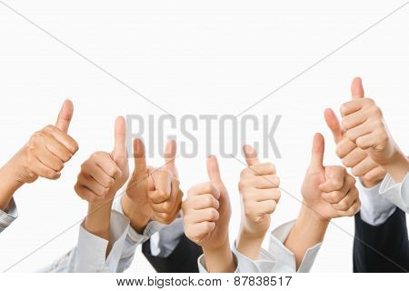 People raise their thumb up