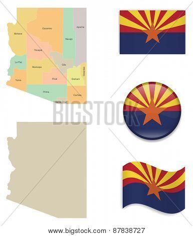 High Detailed Arizona Map and Flag Icons