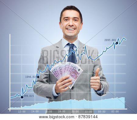 business, people and finances concept - smiling businessman with european money showing thumbs up over growing chart and violet background