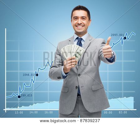 business, people and finances concept - smiling businessman with european money showing thumbs up over growing chart and blue background
