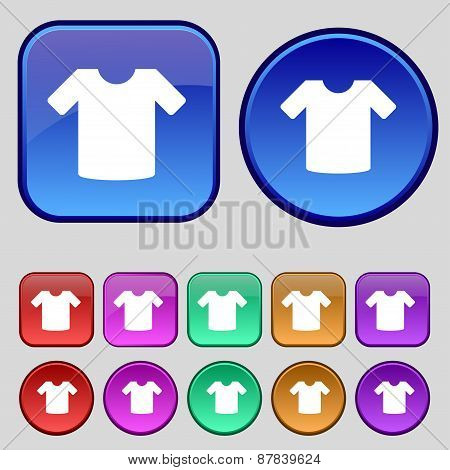 T-shirt, Clothes Icon Sign. A Set Of Twelve Vintage Buttons For Your Design. Vector