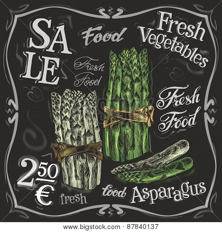 ripe asparagus vector logo design template.  fresh vegetables, food or menu board icon.