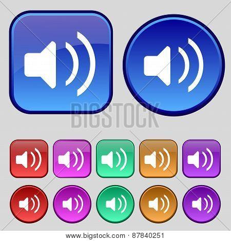 Speaker Volume, Sound Icon Sign. A Set Of Twelve Vintage Buttons For Your Design. Vector