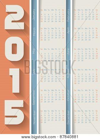 Striped 2015 Calendar With Shadows