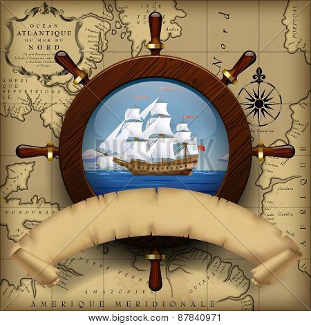 Steering wheel, sailing boat in the sea and parchment ribbon on old chart background.  Navigation travel template. Vector Illustration