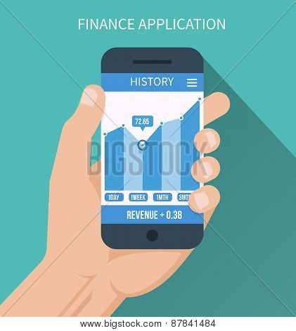 Financial application. Smart phone with business graph in hand