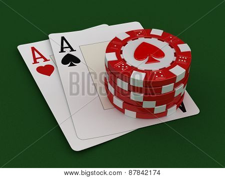 chips of casino and aces (clipping path included)