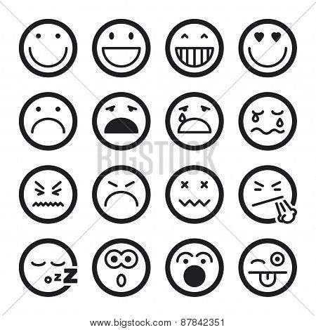 Smiley Flat Icons. Black