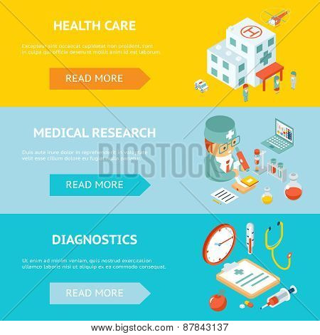 Mobile health care and medical research banners