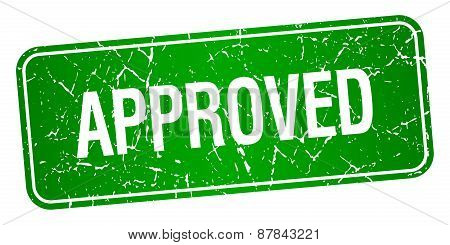Approved Green Square Grunge Textured Isolated Stamp