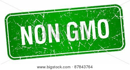 Non Gmo Green Square Grunge Textured Isolated Stamp