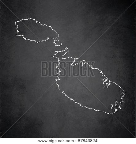 Malta map blackboard chalkboard raster