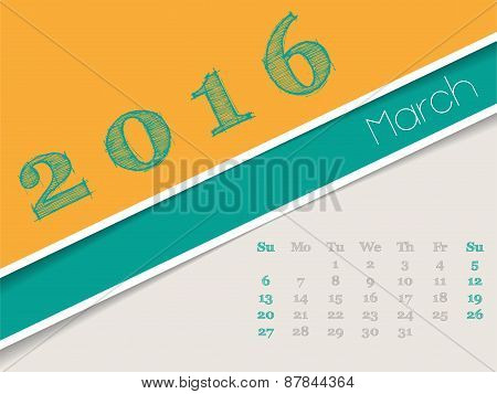 Simplistic March 2016 Calendar Design