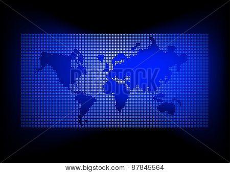 World Map With Dark Blue Background