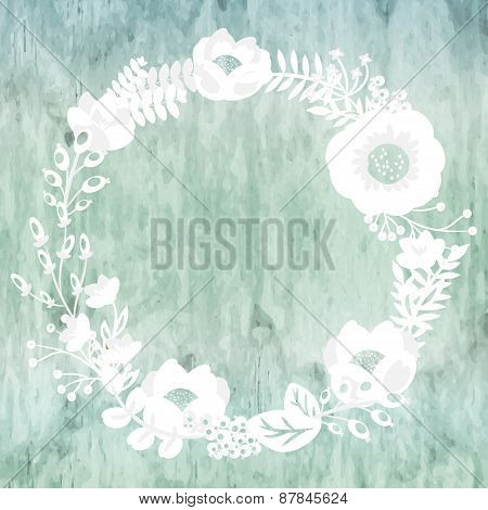 Cute Card With Flower Bouquet On Wooden Background