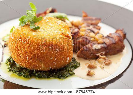 Fried Pork with Potato-Scramble Garnish and Nuts Sauce