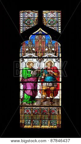 ZAGREB, CROATIA - APRIL 04: Saint Mark and Demetrius, stained glass in Zagreb cathedral dedicated to the Assumption of Mary and to kings Saint Stephen and Saint Ladislaus in Zagreb on April 04, 2015