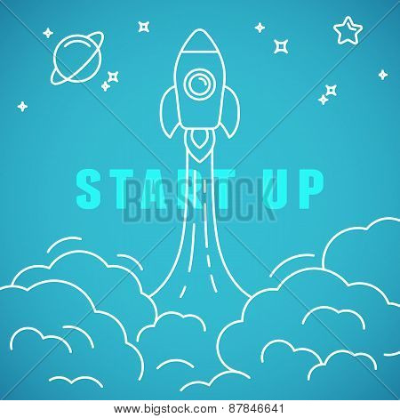 Vector Start Up Concept In Linear Style