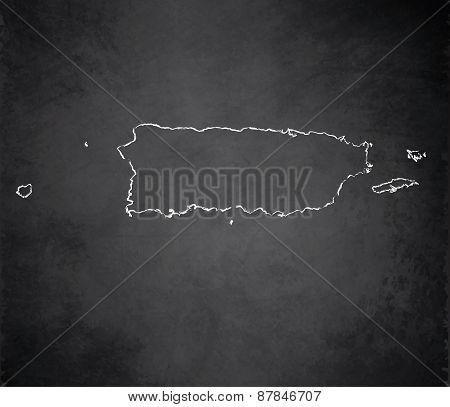Puerto Rico map blackboard chalkboard raster