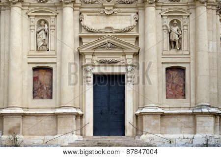 GRAZ, AUSTRIA - JANUARY 10, 2015: Portal of St. Catherine church and Mausoleum of Ferdinand II, Graz, Austria on January 10, 2015.