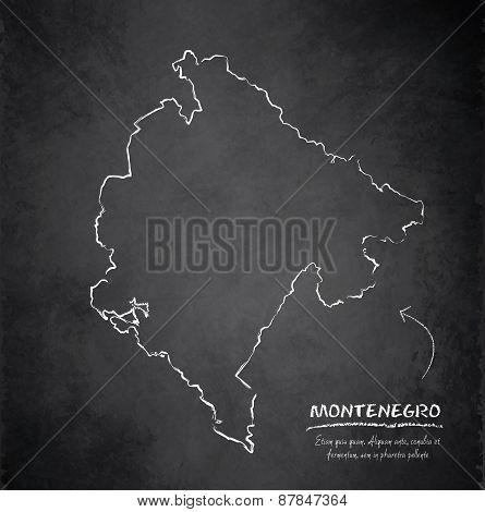 Montenegro map blackboard chalkboard vector