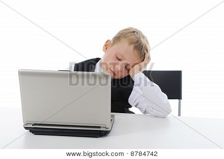 Boy Fell Asleep At The Computer