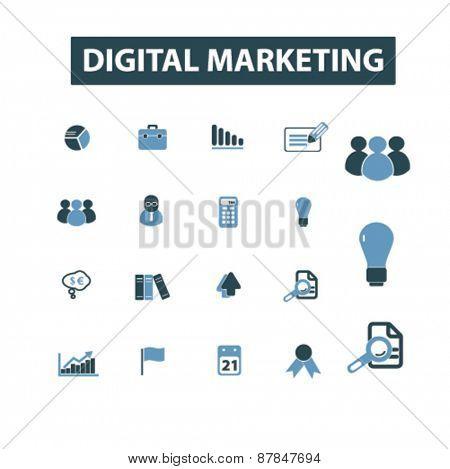 digital marketing icons set, vector