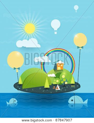 Illustration Vector, House On Peaceful Island, Sun With Blue Sky And Rainbow Background