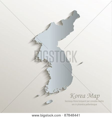 Korea map white blue card paper 3D vector