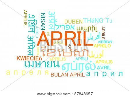 Background concept wordcloud multilanguage international many language illustration of april month