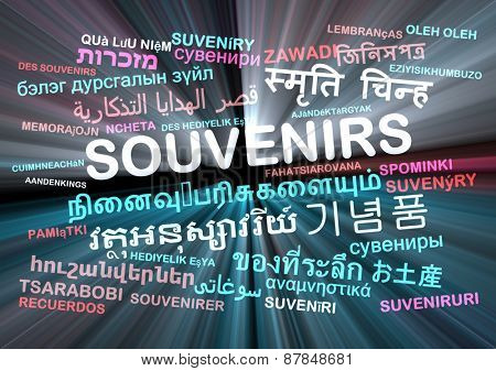 Background concept wordcloud multilanguage international many language illustration of souvenirs glowing light