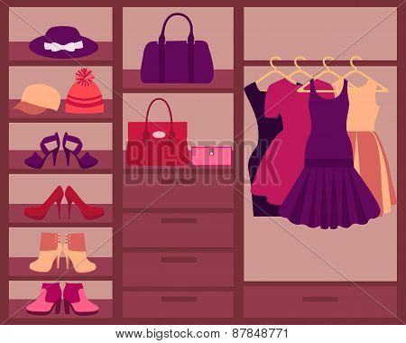 Wardrobe with women's clothes, shoes and accessories. Vector illustration