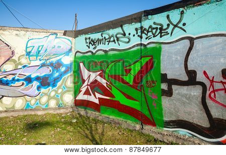 Corner With Colorful Graffiti, Chaotic Patterns And Text